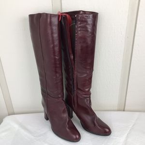 Vintage Etienne Aigne Burgundy Leather Boots